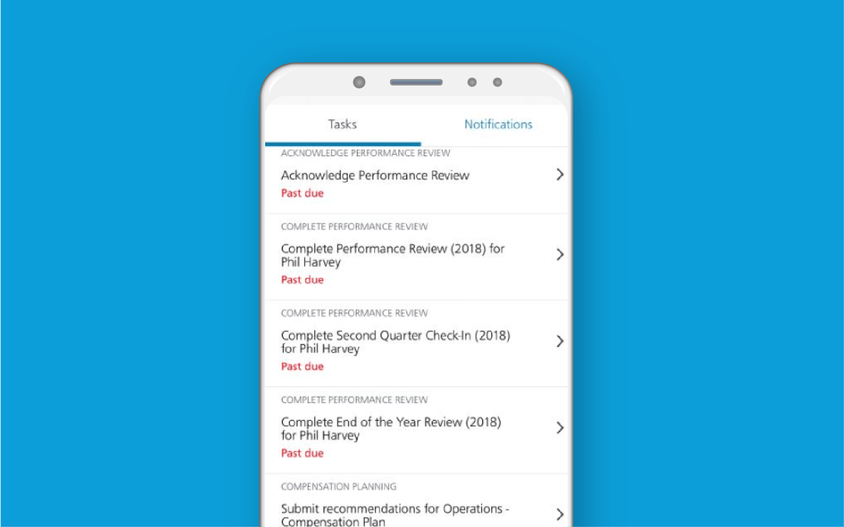 Mobile phone showing employee tasks against blue background