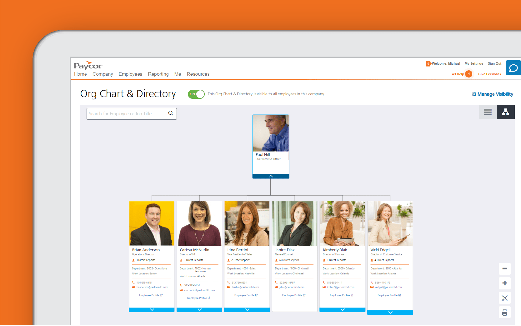 Corner of tablet showing Paycor org chart dashboard against orange background