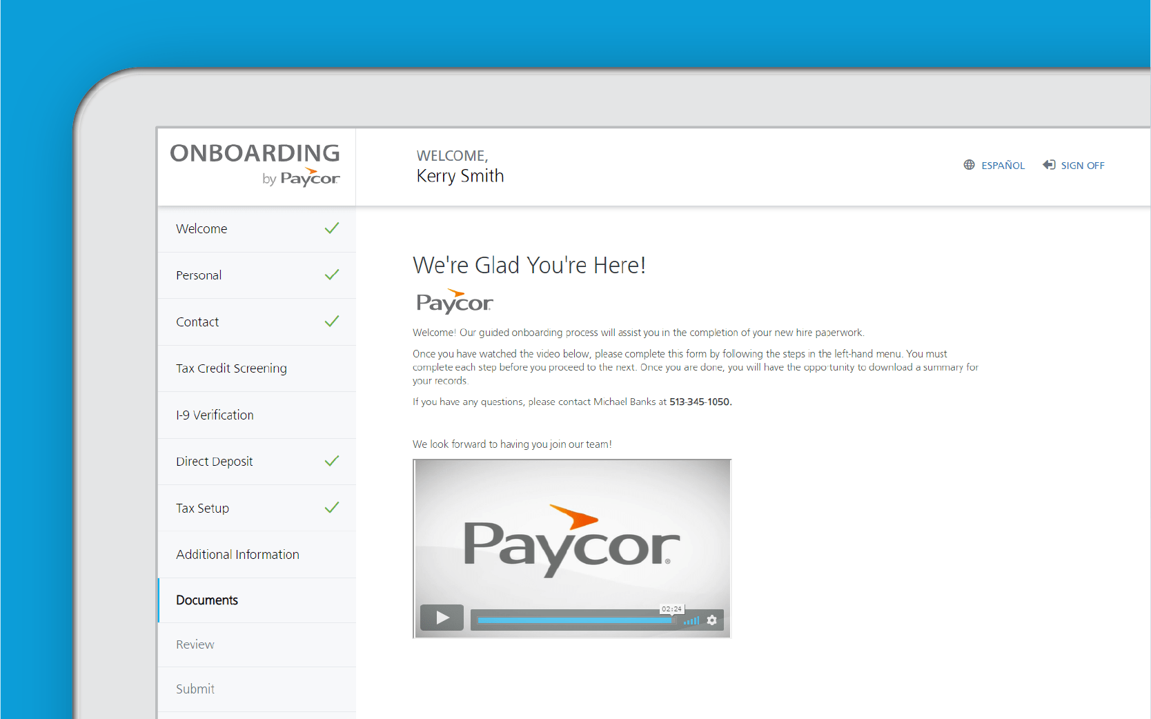 Corner of tablet showing Paycor onboarding dashboard against blue background