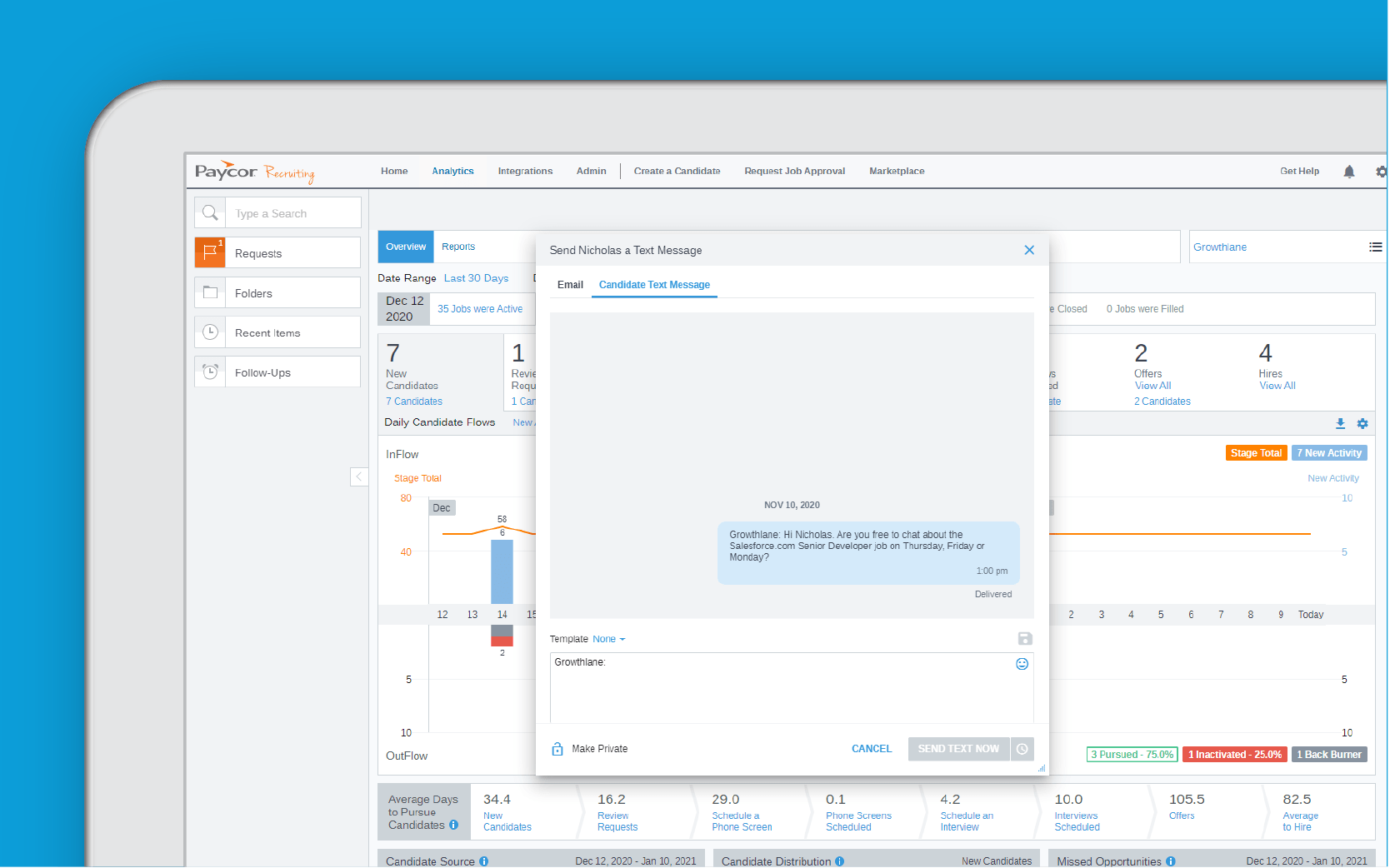 Corner of tablet showing Paycor recruiting software against blue background