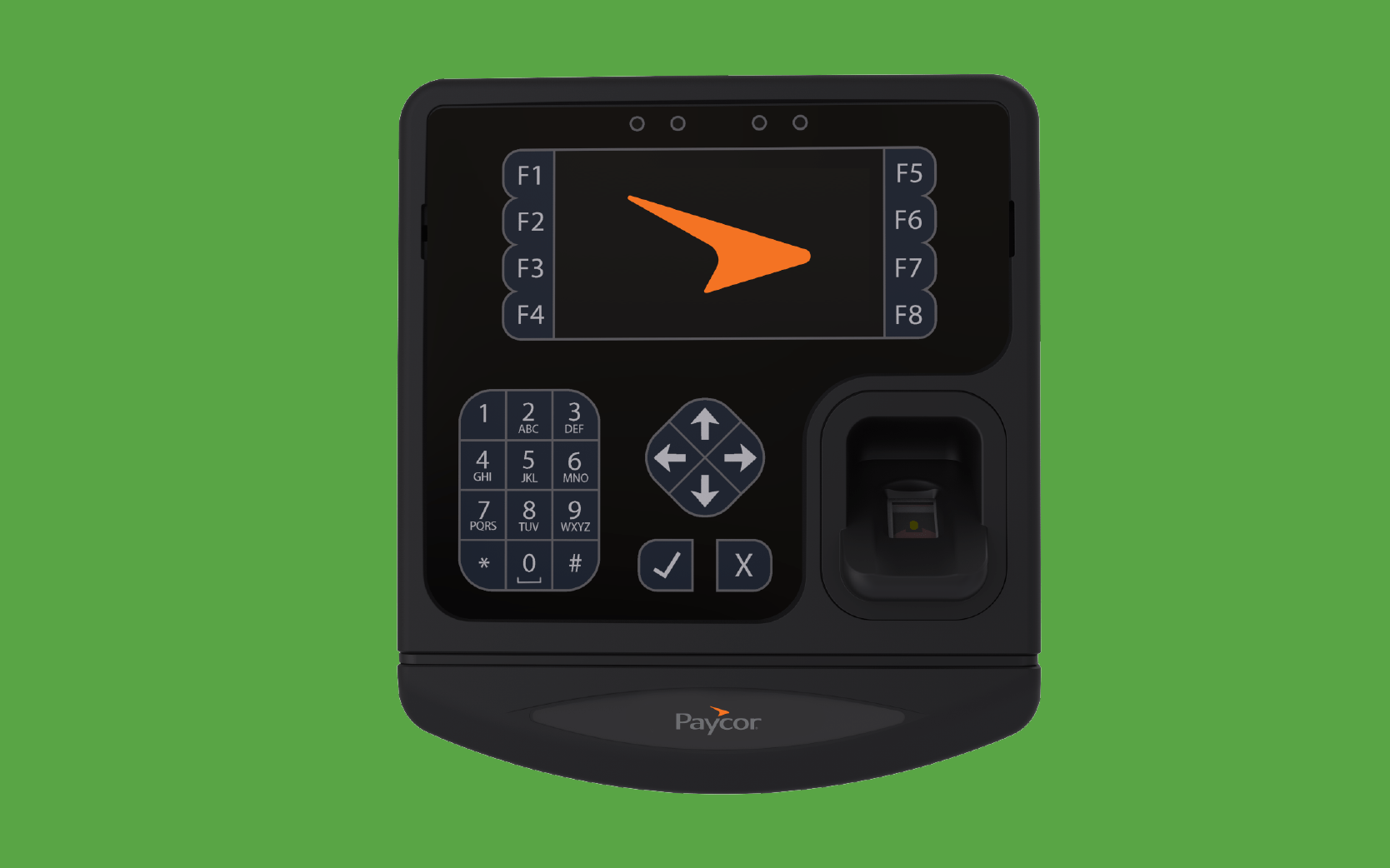Paycor attendance monitor against green background
