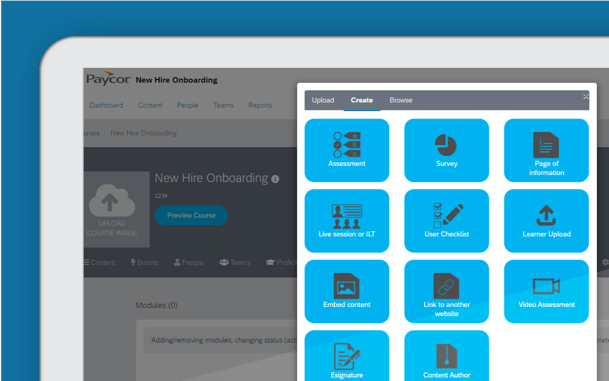Corner of tablet showing course content dashboard against blue background
