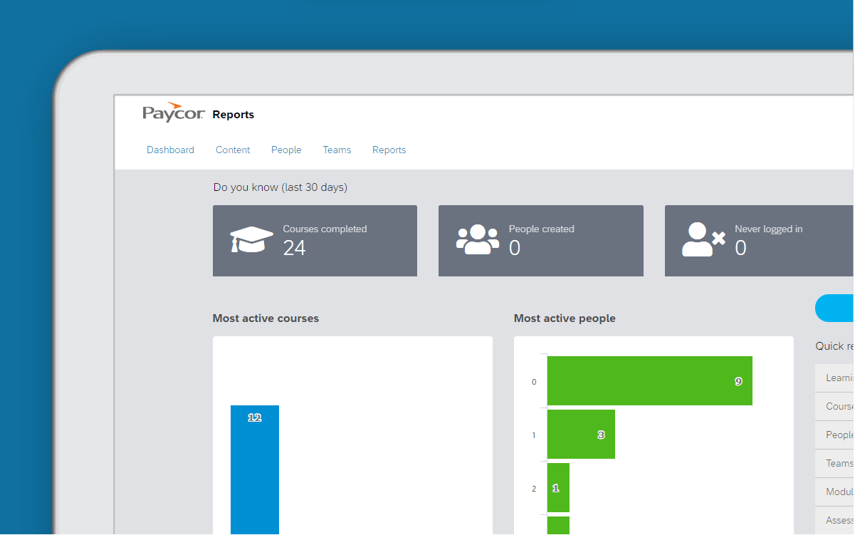 Corner of tablet showing Paycor course dashboard against blue background