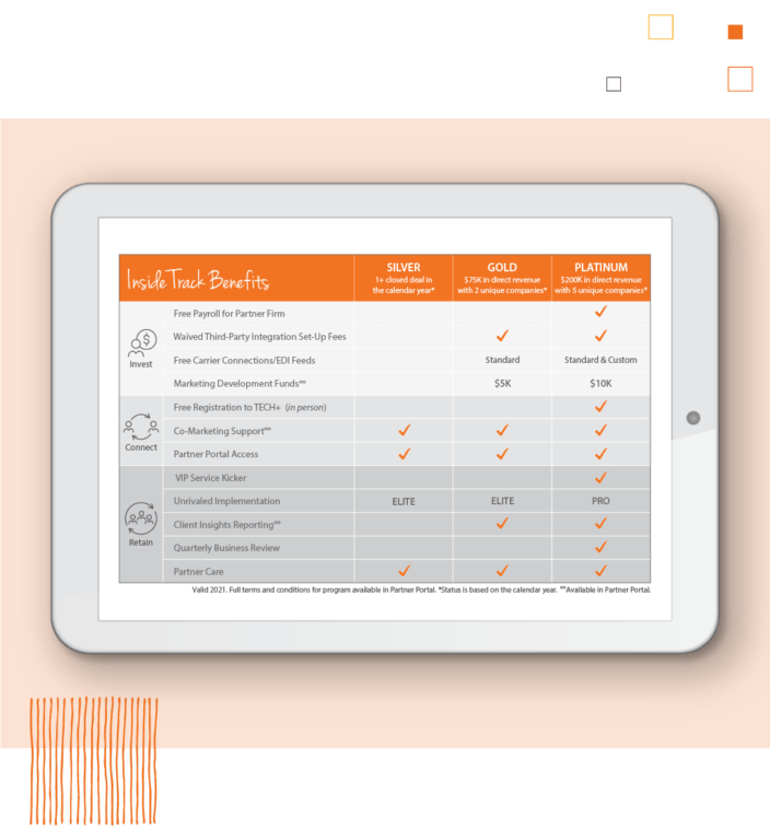 Digital tablet showing Paycor's retirement services loyalty program benefits