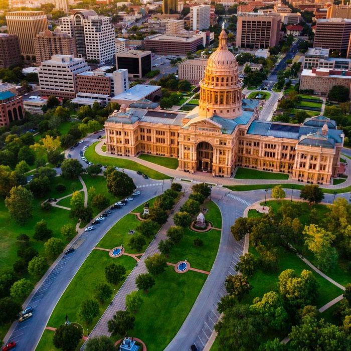 Austin skyline and capitol building