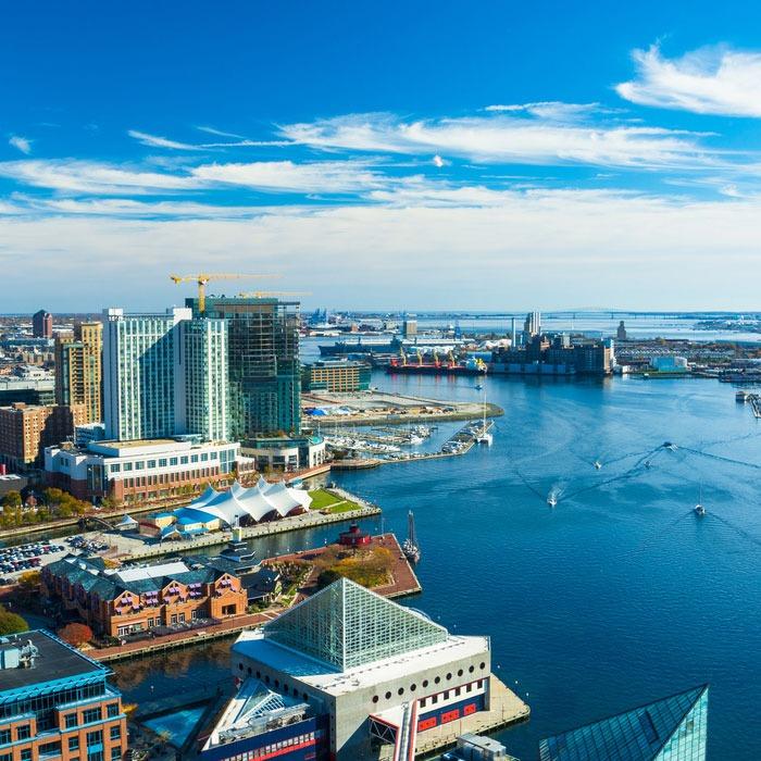 Baltimore harbor and skyline
