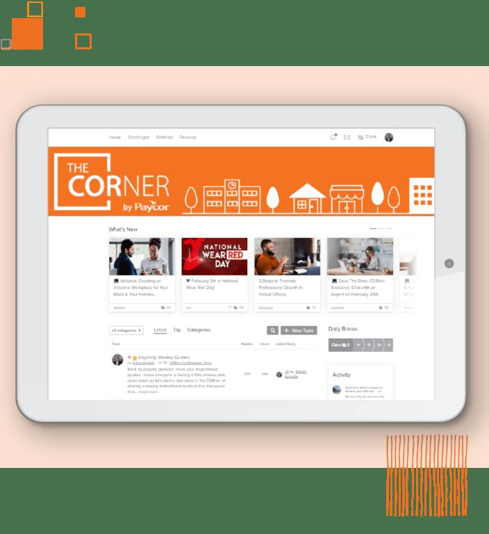 Tablet showing Paycor customer hub against orange background