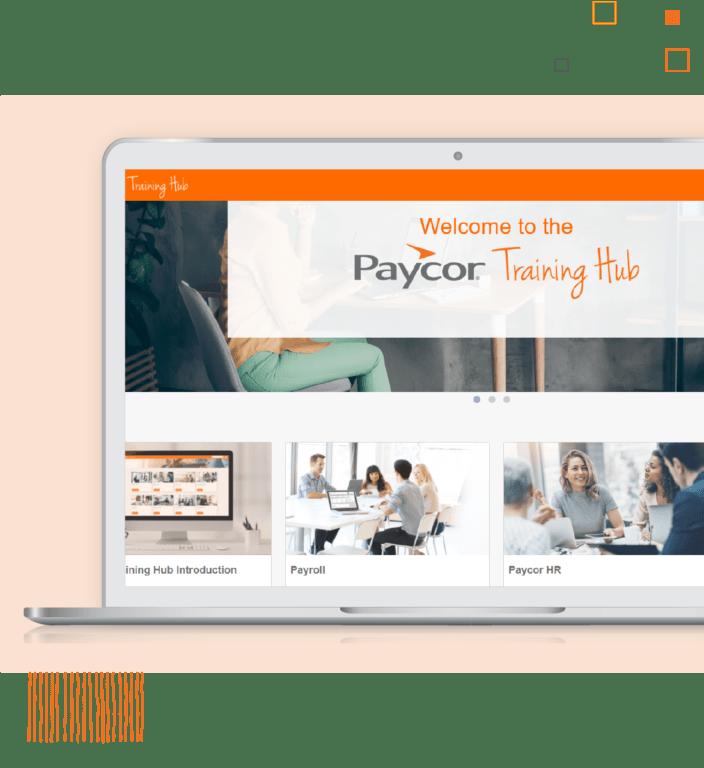 Laptop showing Paycor training hub against orange background