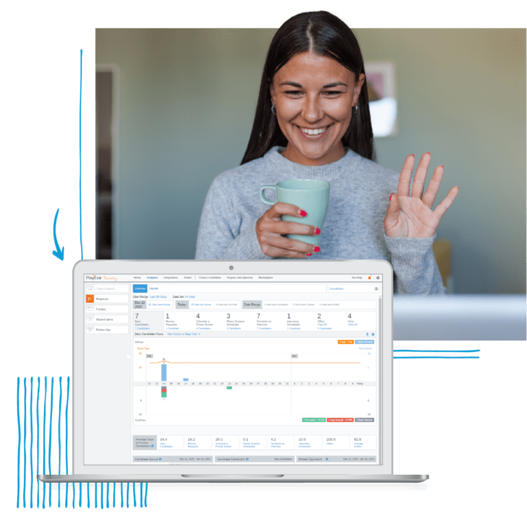 Woman waving at laptop screen showing talent management dashboard
