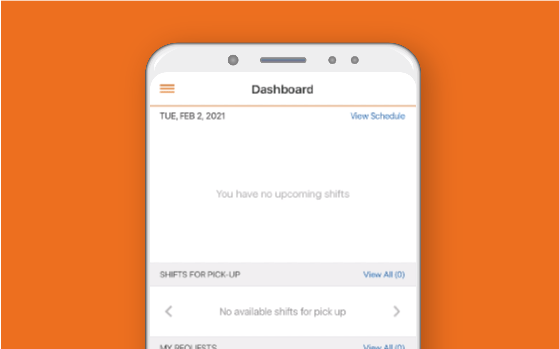 Mobile phone showing employee dashboard against orange background