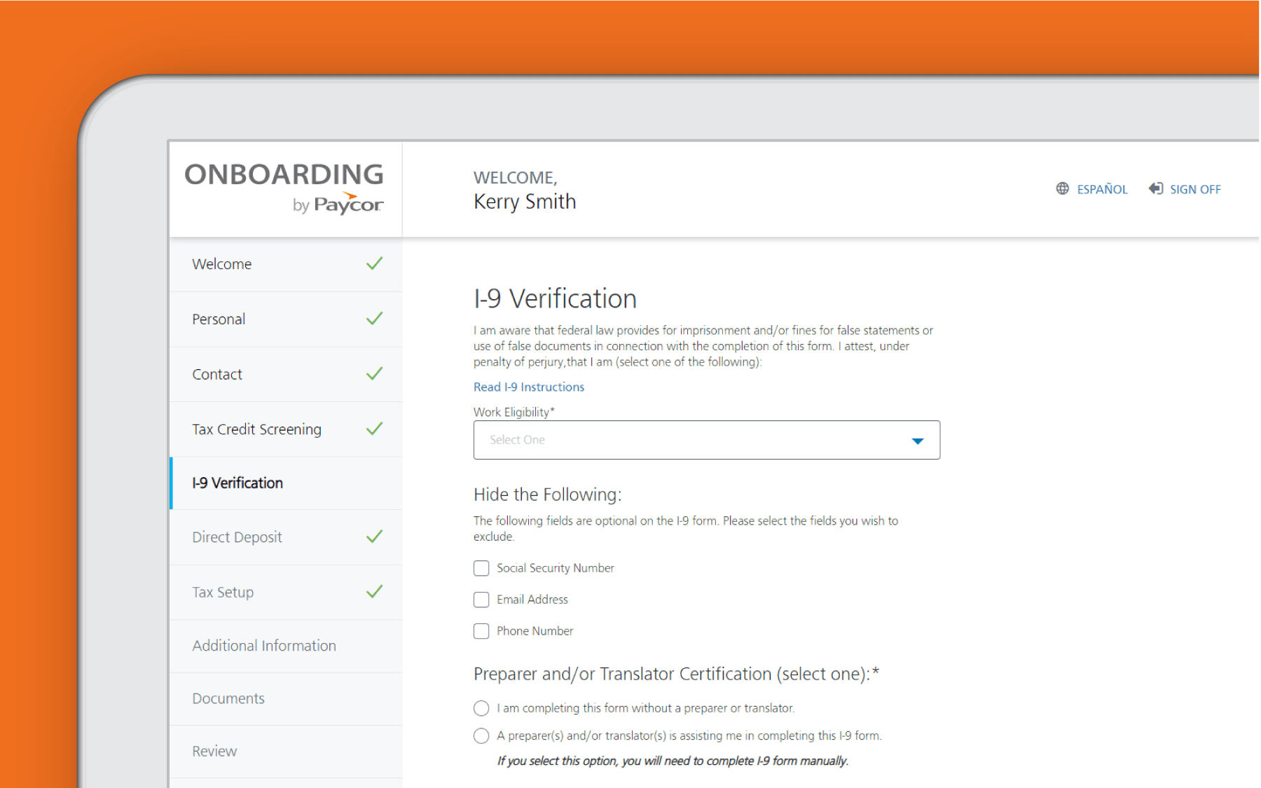 Corner of tablet with Paycor reporting and compliance dashboard against orange background