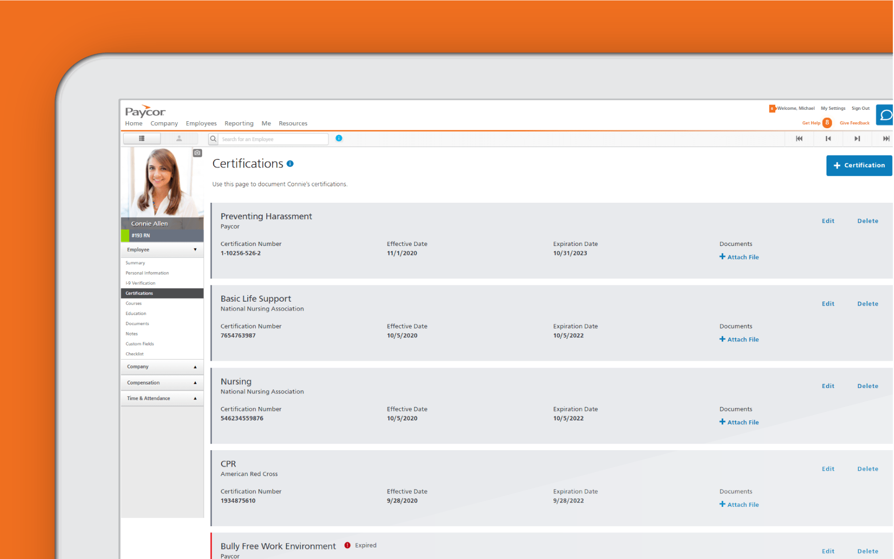 Corner of tablet with certifications dashboard against orange background