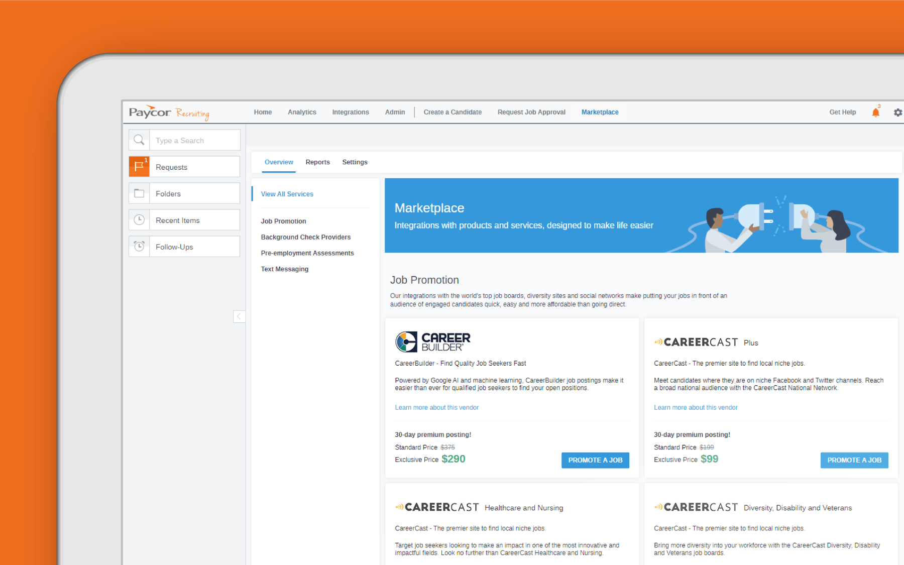 Corner of tablet showing Paycor recruiting page against orange background