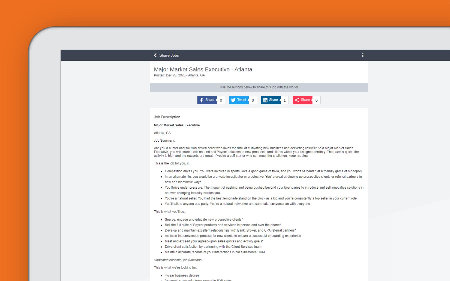 Corner of tablet showing employee referral dashboard against orange background