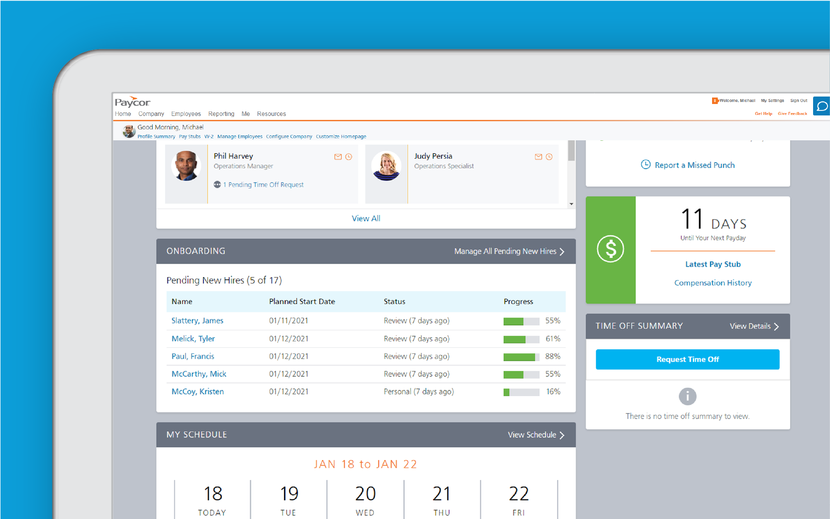 Corner of tablet showing Paycor employee onboarding dashboard against blue background
