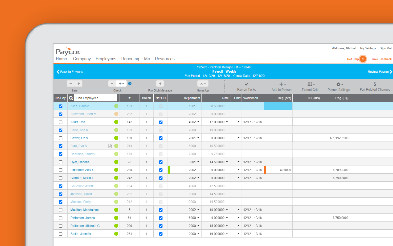 Corner of tablet showing Paycor payroll dashboard against orange background