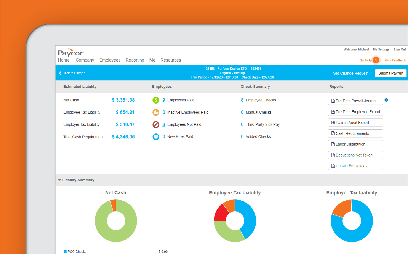 Corner of tablet showing Paycor reporting analytics dashboard against orange background