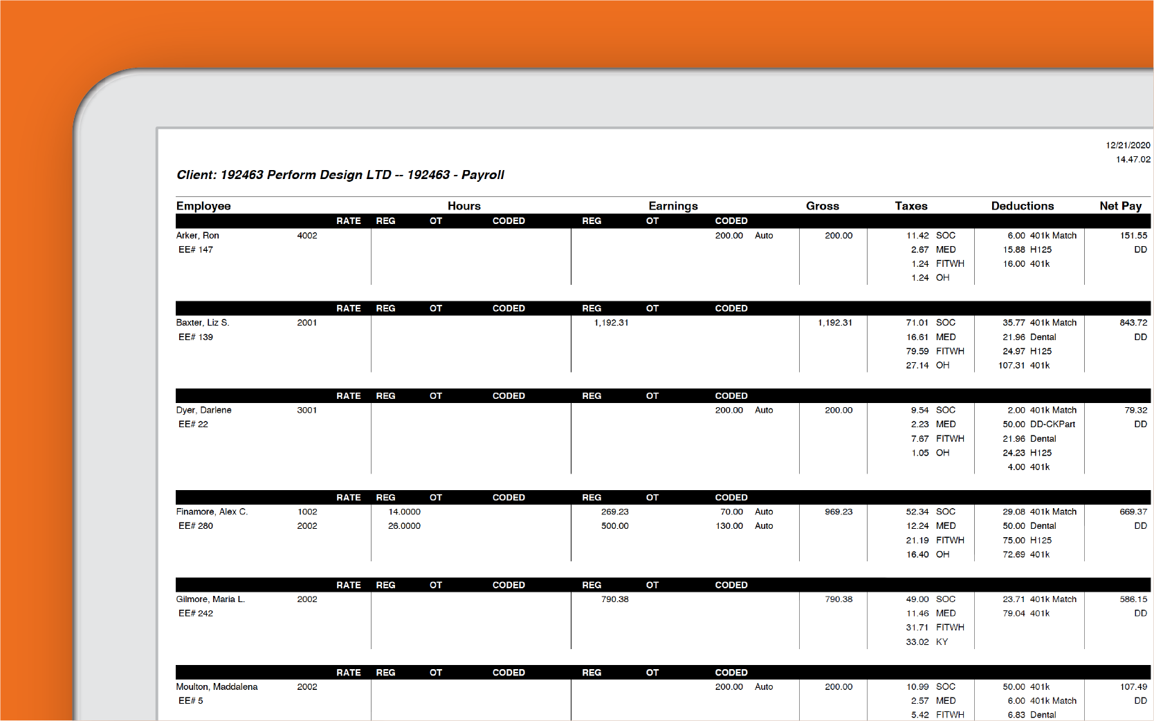 Corner of tablet showing Paycor tax processing dashboard against orange background