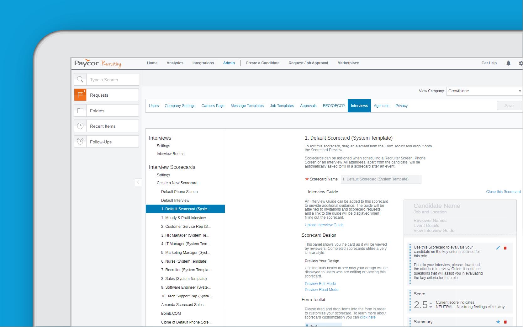 Corner of a tablet showing remote hiring dashboard against blue background