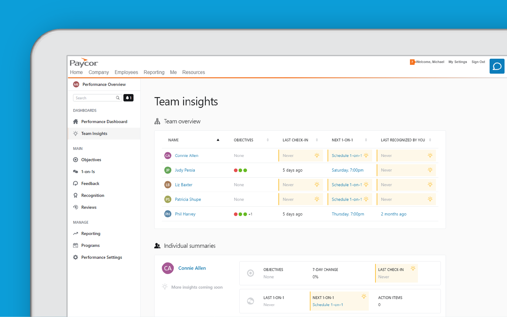 Corner of tablet showing Paycor team insights dashboard against blue background