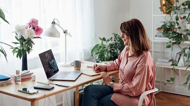 woman working from remote office